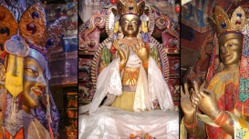 Fig. 2: Painted stucco sculpture of Maitreya (the smallest in size) seated cross-legged on a platform slightly off-centre, facing the north; On the left and right—alternate views of the sculpture. (Photo Courtesy: Sanjay Dhar)