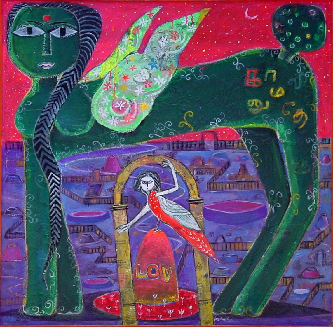 kamadhenu cow, Green Kamadhenu by K.Muraldharan 2010 acrylic on canvas
